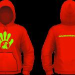 Felpa Cappuccio Unisex - Green Flou-Red