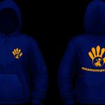 Felpa Cappuccio+Zip Unisex - Orange-Blue Navy
